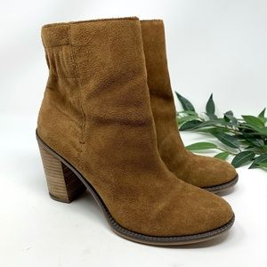 Franco Sarto Tan Brown Suede Heeled Ankle Boot 8